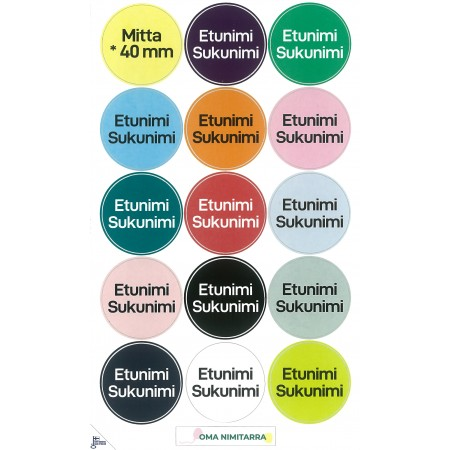 Suuret nimikointitarrat - ⌀40mm värikkäät ympyrän muotoiset tarrat 15 kpl